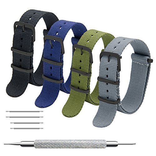 CIVO NATO Strap 4 Packs - 20mm 22mm Premium Ballistic Nylon Watch Bands Zulu Style with Stainless Steel Buckle ((Black Buckle) Black+Army Green+Navy Blue+Grey, 20mm) ()