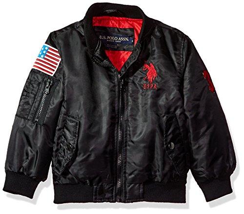 US Polo Association Big Boys' Fashion Outerwear Jacket, UB57-Flight-Black, 10/12 -