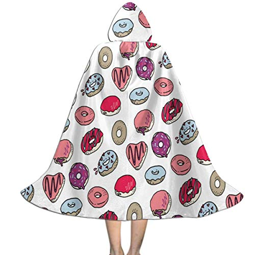REDCAR Hooded Cloak Cape Doughnuts and Hamburgers Trendy Party Vampires Cosplay for Kids Girls Boys