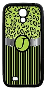 """Rikki KnightTM Letter \""""J\"""" Initial Lime Green Leopard Print and Stripes Monogrammed Design Samsung\xae Galaxy S4 Case Cover (Black Hard Rubber TPU with Bumper Protection) for Samsung Galaxy S4"""