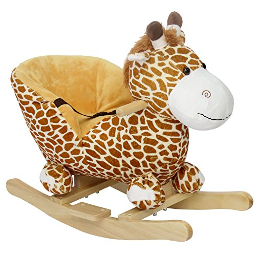 - Peach Tree Rocking Horse Giraffe Rocker for Baby Ride on Giraffe Plush Wooden Riding Rocker with Sound, w/Seat Belts