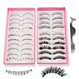 Teenitor Anime Eyelashes, 20 Pair 20 Desgin Japanese Cosplay Eyelash Fake False Upper