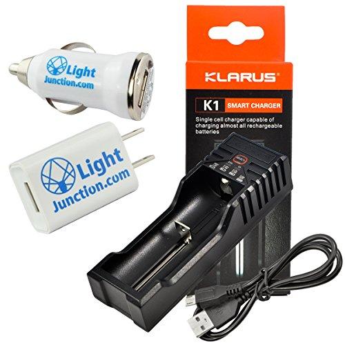 Klarus K1 Single Cell Smart Battery Charger for Li-ion 18650 16340 22650 / Ni-MH/Ni-Cd AA AAA AAAA C w/ 1A Lightjunction USB Plugs