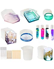 TEUN 37 Pcs Resin Art Molds Include Large Round, Large Square, Cylinder, Silicone Molds for Concrete, DIY Coaster/Flower Pot/Ashtray/Pen/Pendant/Candle Soap Holder