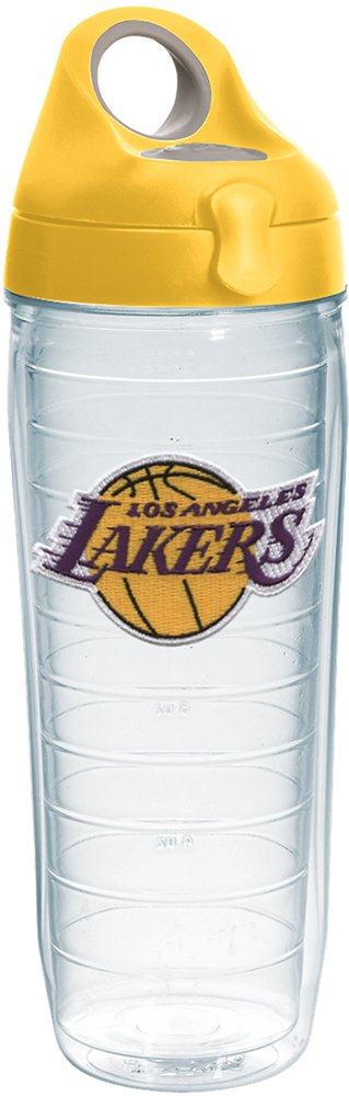 Tervis 1231055 NBA Los Angeles Lakers Primary Logo Tumbler with Emblem and Yellow Lid 24oz Water Bottle, Clear
