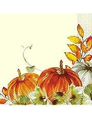 "Watercolor Fall Pumpkins Lunch Napkins 6.5"", Ct."