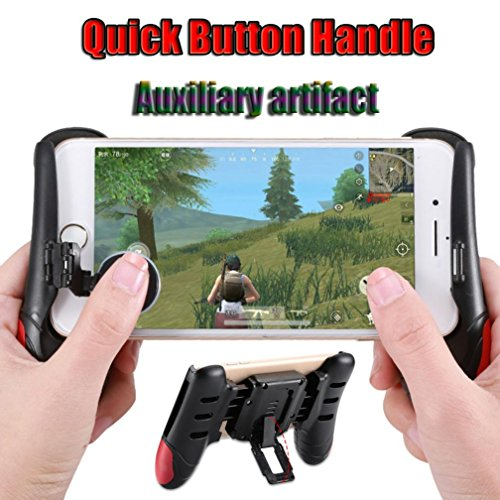 OVERMAL Gaming Controller for PUBG Game Controller Mobile Joystick Gamepad Ergonomic Design Handle Holder (RED Gaming - Red T-shirt Upgrade