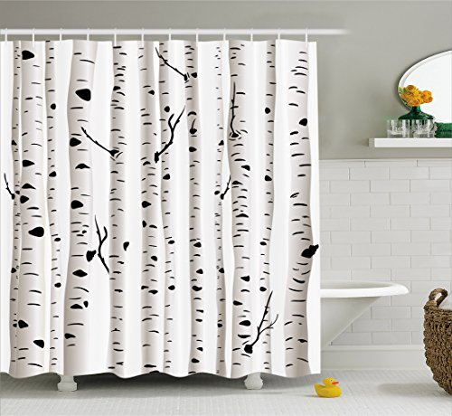 Ambesonne Birch Tree Shower Curtain, Forest Seasonal Nature Woodland Leafless Branches Grove Botany Illustration, Fabric Bathroom Decor Set with Hooks, 75 Inches Long, Black and White - Leafless Tree Branches