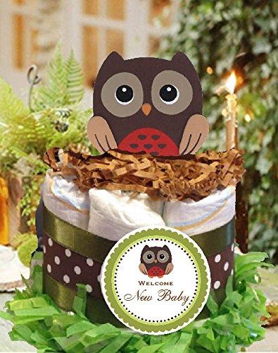 Forest Friends Woodland Creatures OWL mini diaper cakes centerpieces]()