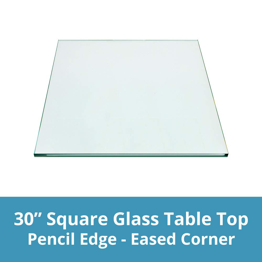TroySys Square Glass Table Top Custom Annealed Clear Tempered – 3/8'' Thick Glass With Pencil Polished Edge & Radius Corner For Dining Table, Coffee Table, Home & Office Use - 30'' L Inch