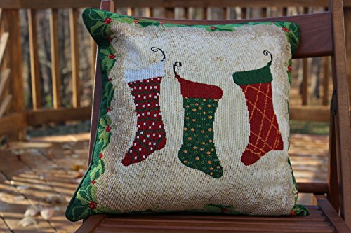 Tache 1 Piece 16 x 16 inch Festive Tapestry Christmas Holiday Hang My Stockings By the Fireplace Decorative Accent Throw Pillow Cushion Cover by Tache Home Fashion
