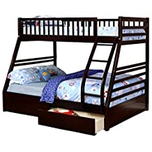 Espresso Twin over Full Bunk Bed with Storage Drawers and Solid Wood