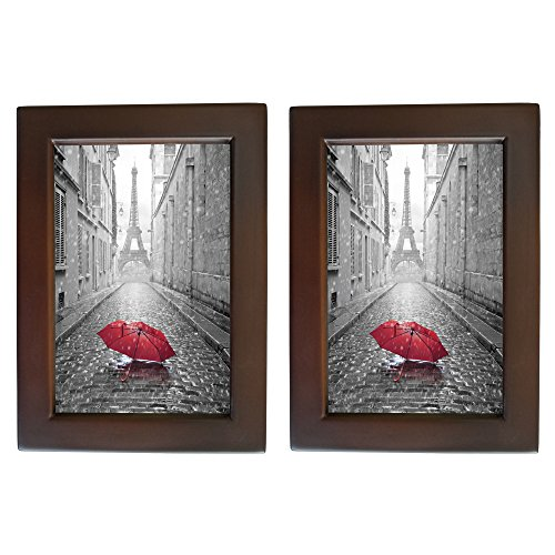 - 2 Pack 4x6 Walnut Wooden Photo Frames Wood Picture Frame for Wall & Tabletop Wall Decor Home Office Decorations Set of 2 with Real Glass Made to Display Pictures of 4x6 Inch