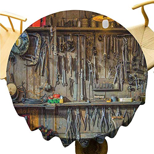 """ScottDecor Fabric Tablecloth Man Cave Decor,Vintage Tools Hanging On A Wall in A Tool Shed Workshop Fixing Equipment,Multicolor Garden for Dining Room Kitchen Decoration Round Tablecloth Diameter 60"""" from ScottDecor"""