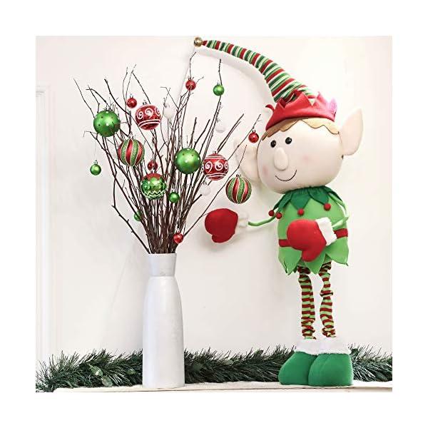 Victor's Workshop Addobbi Natalizi 16 Pezzi 8cm Palle di Natale, Delightful Elf Red Green And White Infrangibile Palla di Natale Ornamenti Decorazione per la Decorazione Dell'Albero di Natale 5 spesavip