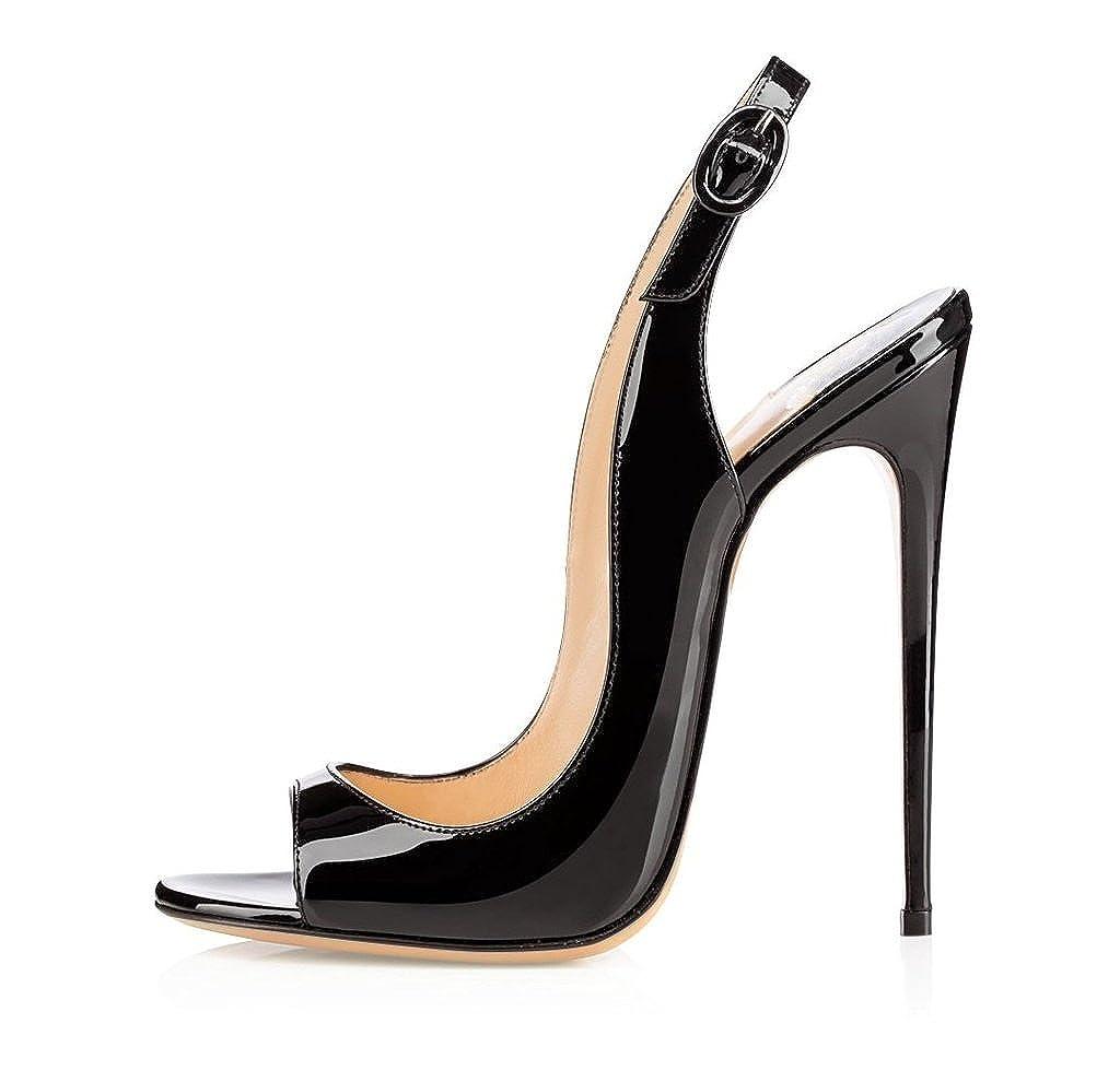 6df47f2208e EDEFS Womens Peep Toe 120mm High Heels Sandal Open Toe Slingback Sandals  Party Dress Shoes