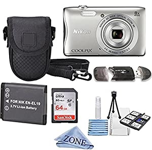 Nikon COOLPIX S3700 Wi- Fi enabled Digital Camera with 8x Optical Zoom + Extra Battery, 64GB Memory Card+ Accessory Zone cloth + Accessory Bundle (Silver)