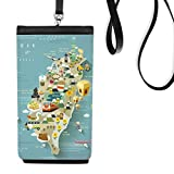 Travel Taiwan Area China Faux Leather Smartphone Hanging Purse Black Phone Wallet Gift