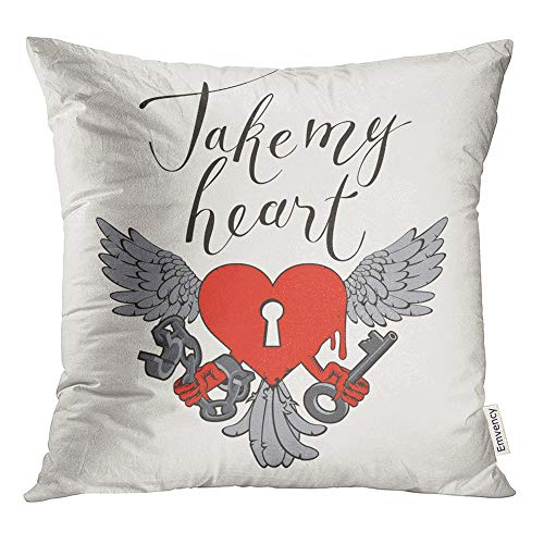Emvency Throw Pillow Covers Decorative Cases Valentines Day with Lock in The Shape of Heart Wings Key and Open Handcuffs 20x20 Inch Cover Cushion Pillowcase Square Case Print (Tattoo Of A Heart Lock And Key)