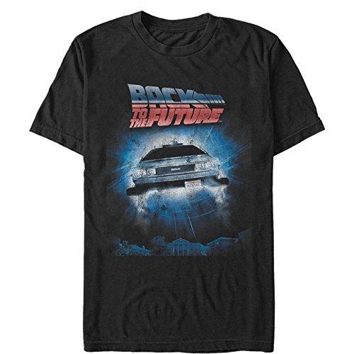 Fifth Sun Back to The Future Men's Retro Delorean Poster Black T-Shirt ()