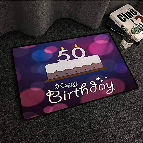 Zzmdear 50th Birthday Entrance Door mat Color Spots in Graphic Style Cake Number Candlesticks Cute Lettering Personality W16 xL24 Blue Pink White