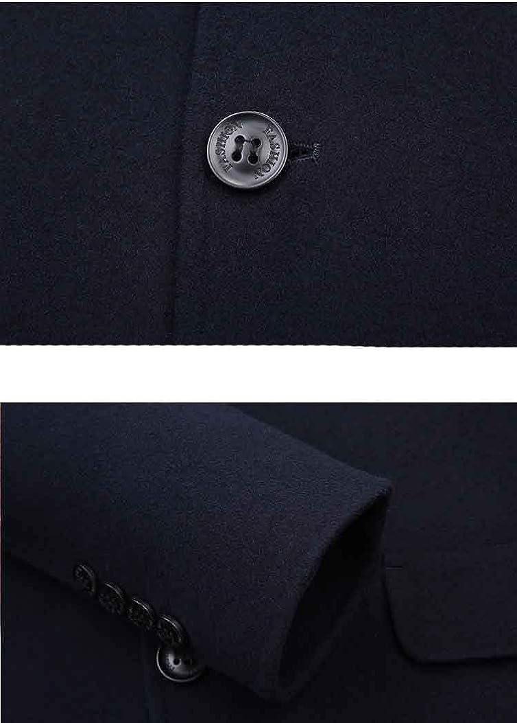 ZSCRL Manteau en Laine Double Face pour Hommes, Trench mi-Long, Style décontracté Urbain, Coupe ajustée Marine