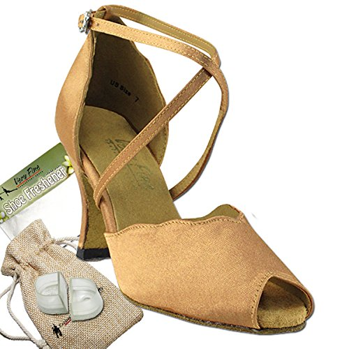 Women's Ballroom Dance Shoes Tango Wedding Salsa Latin Dance Shoes Brown Satin 2708EB Comfortable - Very Fine 2.5