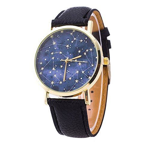 Ryanwayland Constellations Stars Print Unisex Leather Quartz Watch W/ Ryanwayland Gift Pouch - Black