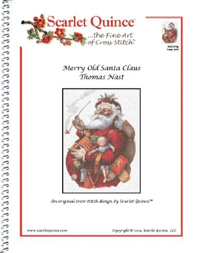 Scarlet Quince NAS001lg Merry Old Santa Claus by Thomas Nast Counted Cross Stitch Chart, Large Size Symbols