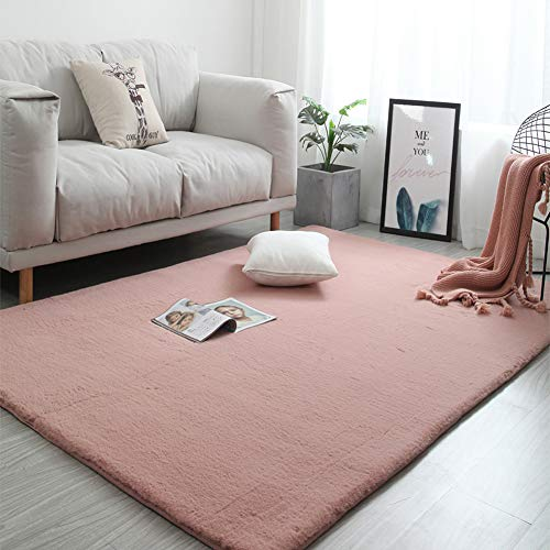 (AugusWu Imitated Fux Area Rugs with Anti Slip Renewable Tape Set Faux Rabbit Hair Round Pink 39.4