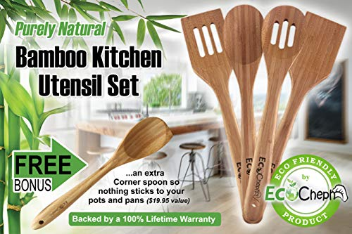 EcoCheph 4-Piece Eco-friendly Non Scratch Natural Bamboo Utensil Set