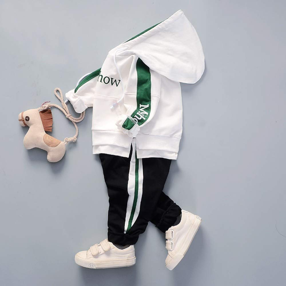 Pants Casual Sports Clothes Set 1-3 Years Toddler Kids Baby Boy Girl Letter Hooded Pullover Tops Sweatshirt Pocket