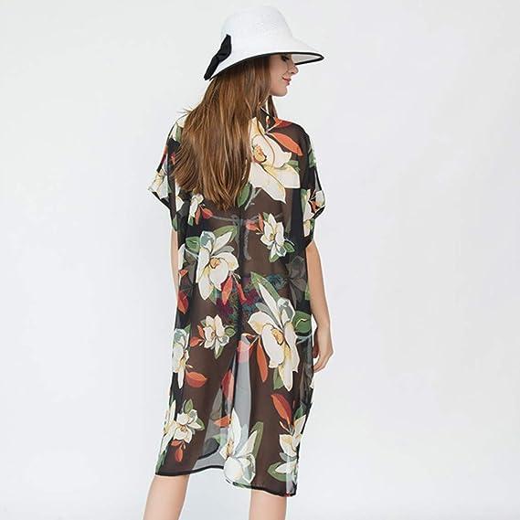 Amazon.com: Womens Floral Chiffon Kimono Cardigan Cover Up ...