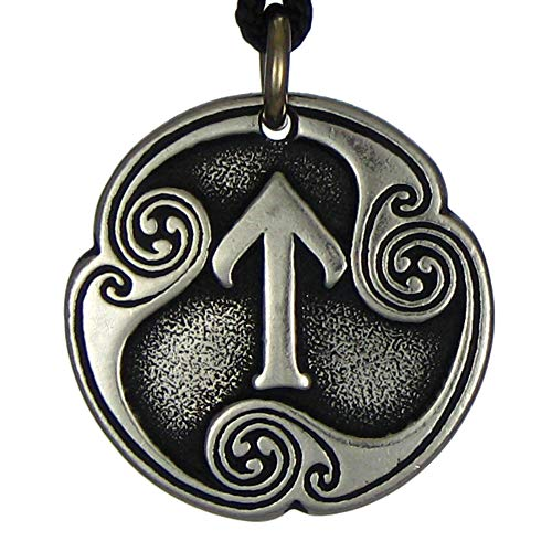 Pewter Tir Tiwaz Rune of Victory Talisman Pendant - Viking Asatru Necklace