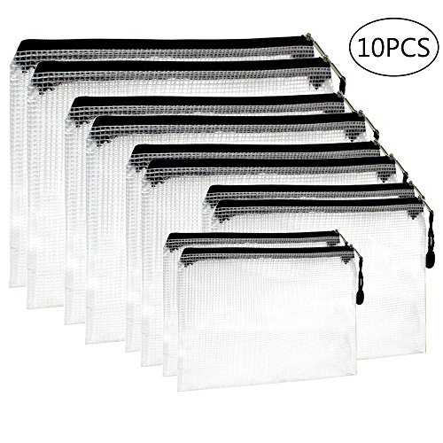 YGEOMER 10pcs Black Zipper File Bags in 5 Sizes, File Holder with Grid Travel Pouch