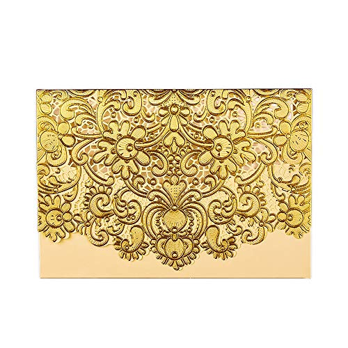 25PCS Wedding Invitations+ Inside Paper + Envelopes, 4.7'' x 7'' Gold Lace Invitation for Wedding Birthday Party Favor Anniversary (Light Gold) ()