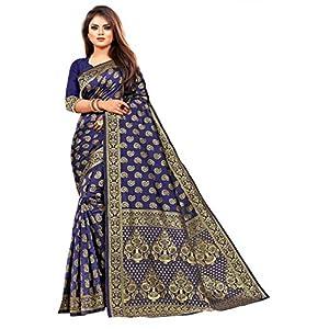 NIRAVE FASHION women's ethnic wear jacquard banarasi cotton silk saree