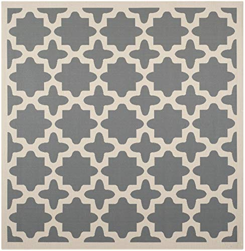 Safavieh Courtyard Collection CY6913-246 Anthracite and Beige Indoor/ Outdoor Square Area Rug (5'3