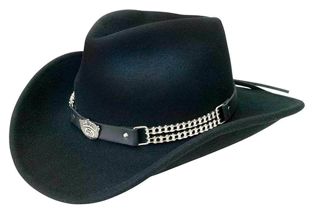 Jack Daniels Chain Link Shapeable Soft Wool Cowboy Hat - Black JD03-105 FM Hat JD03-105-L