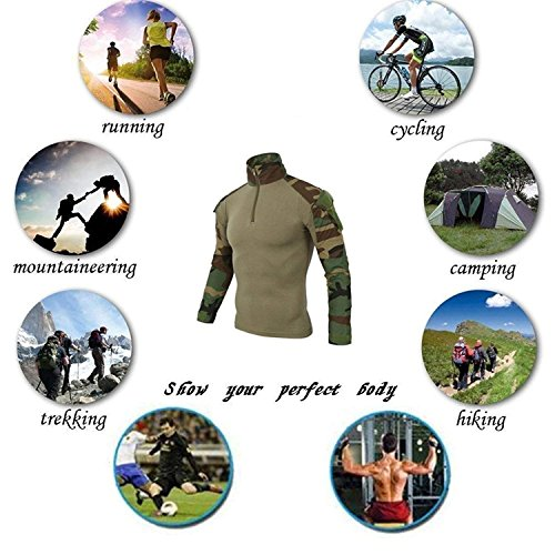 QCHENG Chemise de Combat Militaire Homme Airsoft Shirt Tenue Camouflage Uniforme Tactique Séchage Rapide à Manches… 6