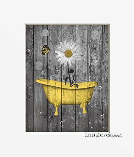 Yellow Gray Rustic Bathroom Wall Art, Daisy Flower Butterflies, Bubbles, Photo Artwork, Matted 5x7, 8x10, 11x14 Farmhouse Bath Decor