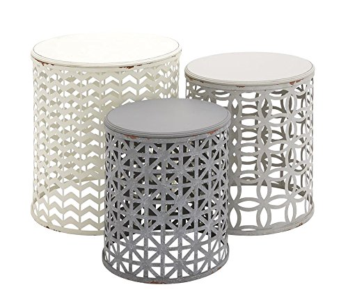 Deco 79 Metal Wood Accent Table, 22 by 19 by 17-Inch, Set of 3 by Deco 79