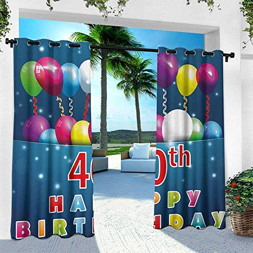 (40th Birthday, for Patio Light Block Heat Out Water Proof Drape,Special Day Surprise Occasion Party Event with Colorful Balloons and Ribbons, W96 x L108 Inch, Multicolor)
