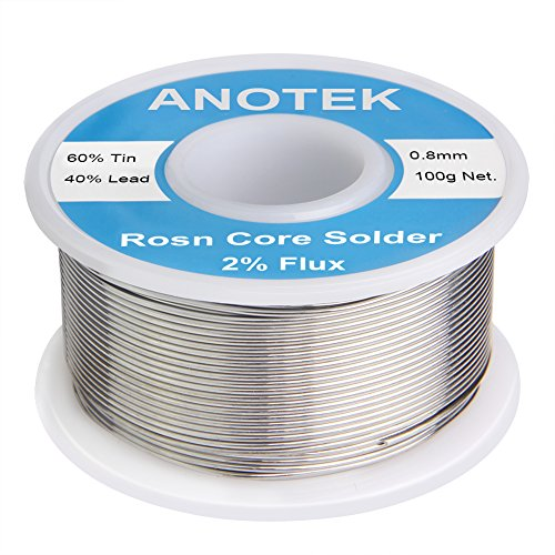 0.8 mm 100g 60-40 Rosin Core Tin Lead Roll Soldering Solderwith for Electrical Soldering and DIY 0.22lbs (0.8mm, 100g)