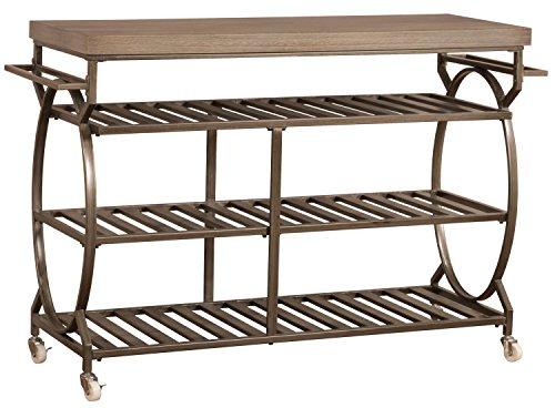 Hillsdale Furniture 5987-860 Paddock Brown and Distressed Wood Top Kitchen cart, (Hillsdale Kitchen Kitchen Island)
