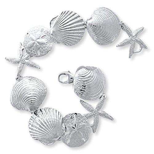 Handmade Solid Sterling Silver Starfish, Scallop, Sand Dollar, and Clam Shell Bracelet