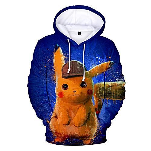 VDSimple Detective Pika-chu Mens Hoodie 3D Printed Hooded Pullover Sweatshirt XS. -