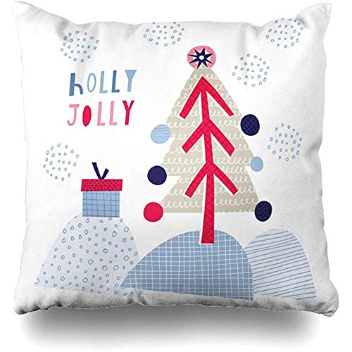 NEWcolor Pillow Covers Greeting Card Holly Creative Card Winter Holidays with Cute Christmas Square Decorative 18x 18 inch