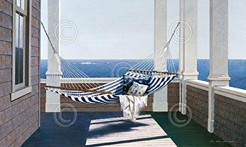 Striped Hammock by Zhen Huan Lu Seascape Ocean Landscape Coastal Poster (Choose Size of Print)