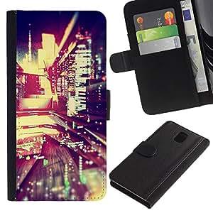 A-type (Night City Lights Blur Life Buildings Street) Colorida Impresión Funda Cuero Monedero Caja Bolsa Cubierta Caja Piel Card Slots Para Samsung Galaxy Note 3 III